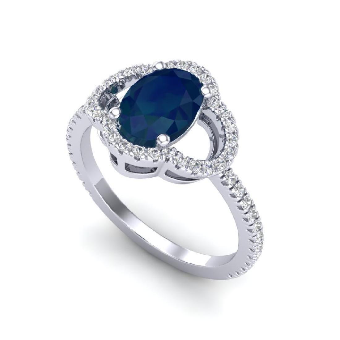 2 CTW Sapphire & Micro Pave VS/SI Diamond Ring 10K - 2