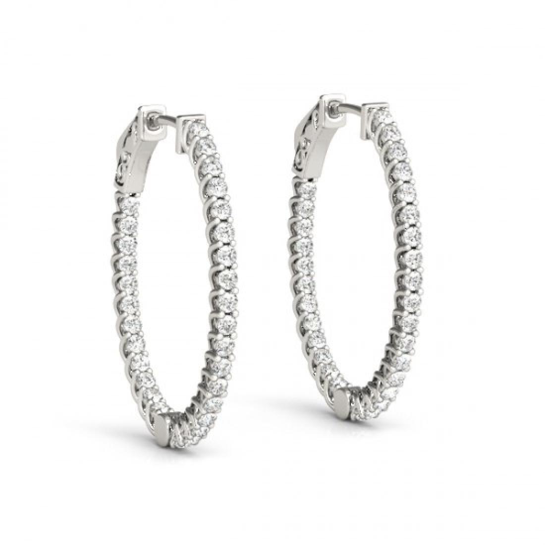 3.65 CTW Diamond VS/SI Certified 40 Mm Hoop Earrings - 2