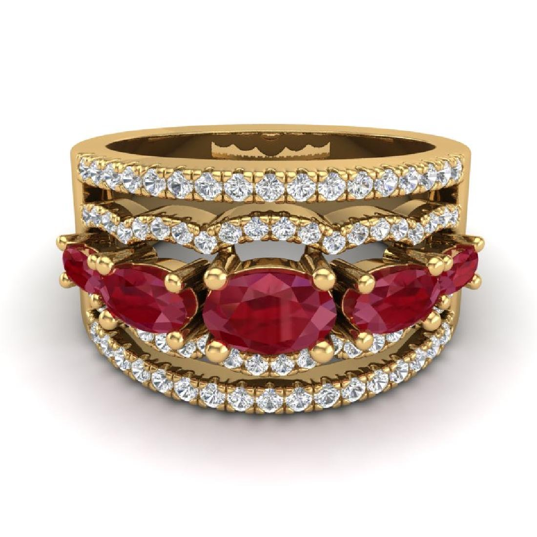 2.25 CTW Ruby & Micro Pave VS/SI Diamond Designer Ring