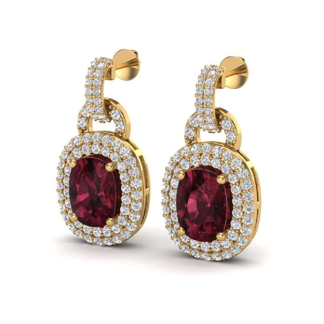 5 CTW Garnet And Micro VS/SI Diamond Pave Earrings Halo