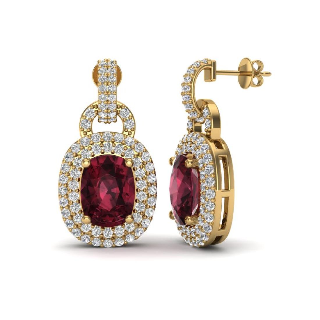 5 CTW Garnet And Micro VS/SI Diamond Pave Earrings Halo - 2