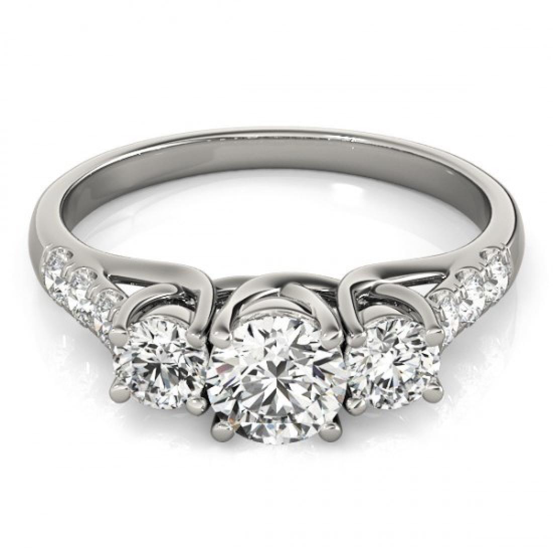 0.75 CTW Certified VS/SI Diamond 3 Stone Ring 14K White