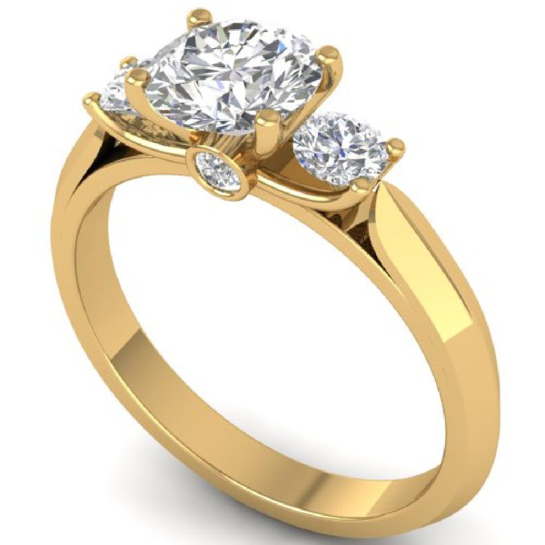 1.5 CTW Certified VS/SI Diamond Solitaire 3 Stone Ring - 2