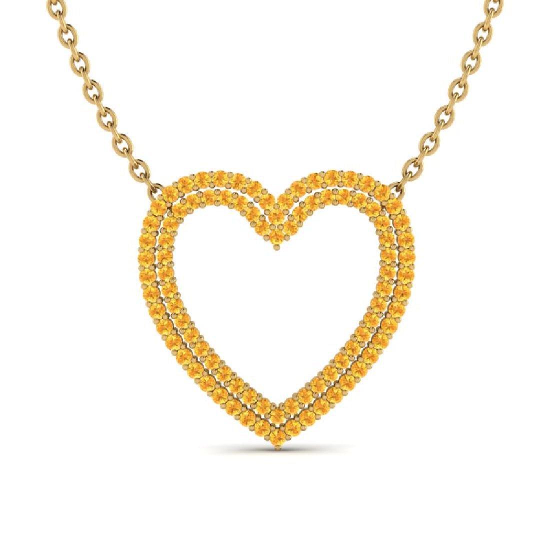3.50 CTW Yellow Sapphire Heart Halo Designer Necklace