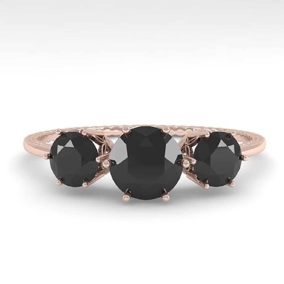 1 CTW Black Certified Diamond Art Deco Ring 14K Rose