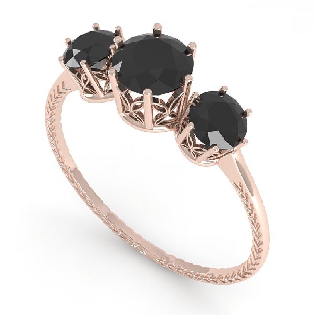 1 CTW Black Certified Diamond Art Deco Ring 14K Rose - 2