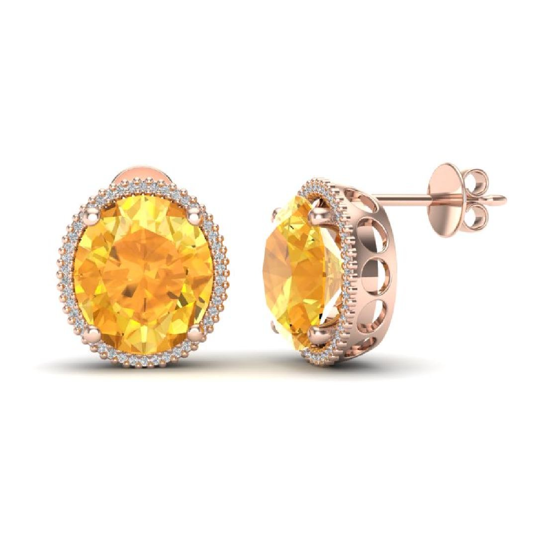 20 CTW Citrine & Micro Pave VS/SI Diamond Halo Earrings - 2