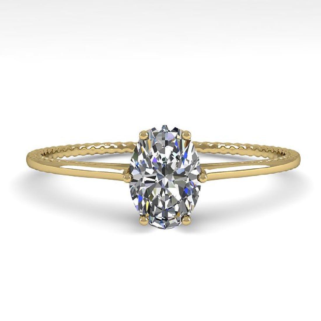 1.0 CTW VS/SI Oval Cut Diamond Art Deco Ring 14K Yellow