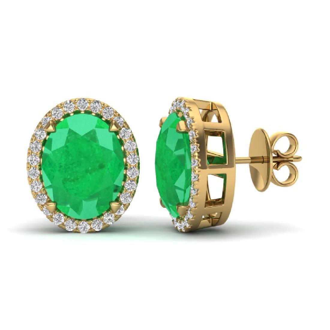 5.50 CTW Emerald & Micro VS/SI Diamond Halo Earrings - 2