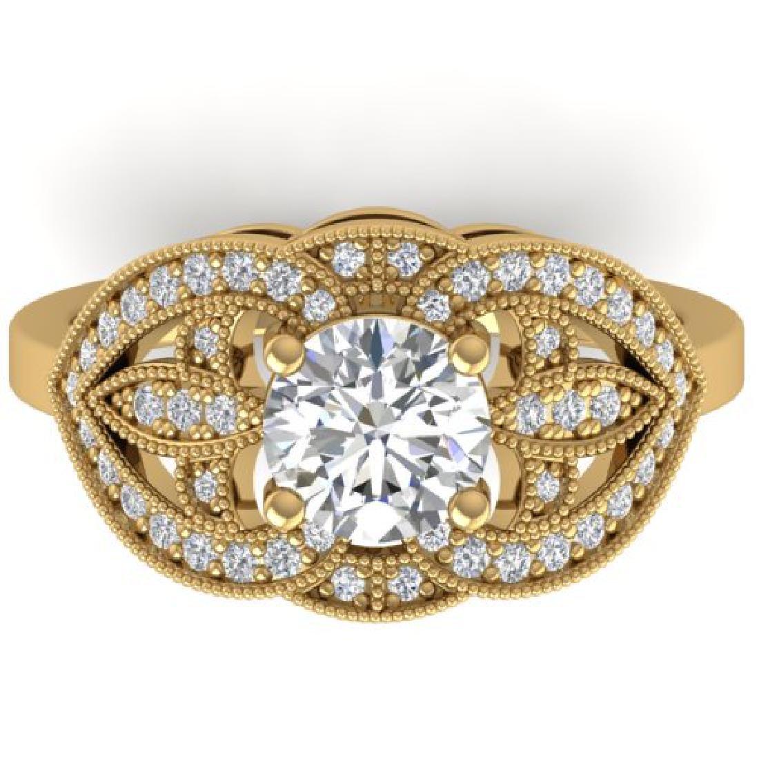 1.5 CTW Certified VS/SI Diamond Art Deco Micro Ring 18K