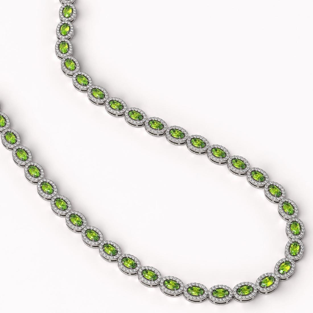 23.86 CTW Peridot & Diamond Halo Necklace 10K White - 2