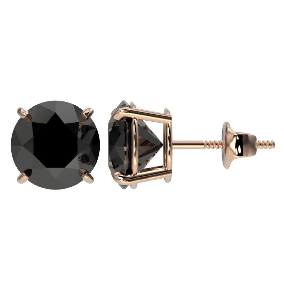 3.18 CTW Fancy Black VS Diamond Solitaire Stud Earrings - 2