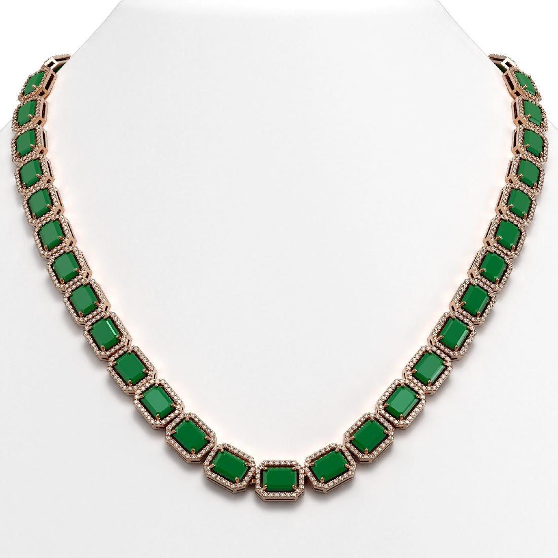 58.59 CTW Emerald & Diamond Halo Necklace 10K Rose Gold