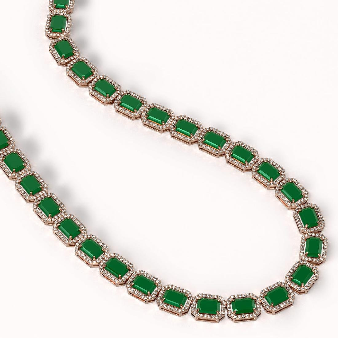 58.59 CTW Emerald & Diamond Halo Necklace 10K Rose Gold - 2