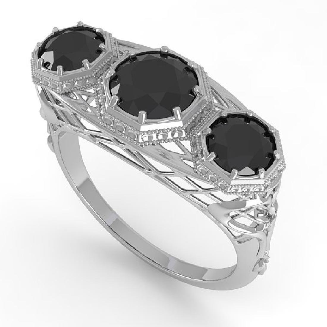 2 CTW Black Diamond Ring 14K White Gold - 2