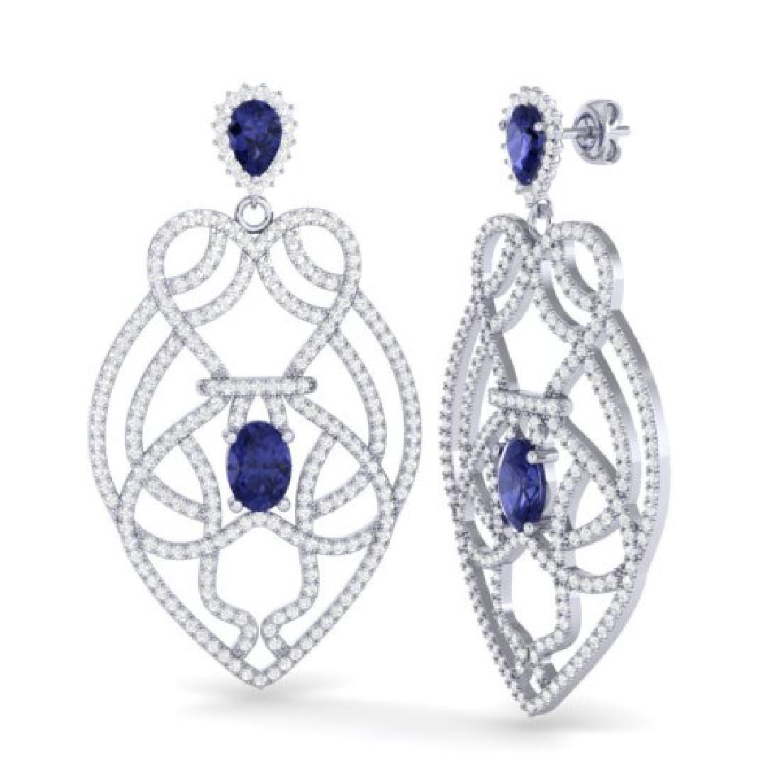 7 CTW Tanzanite & Micro VS/SI Diamond Heart Earrings - 2