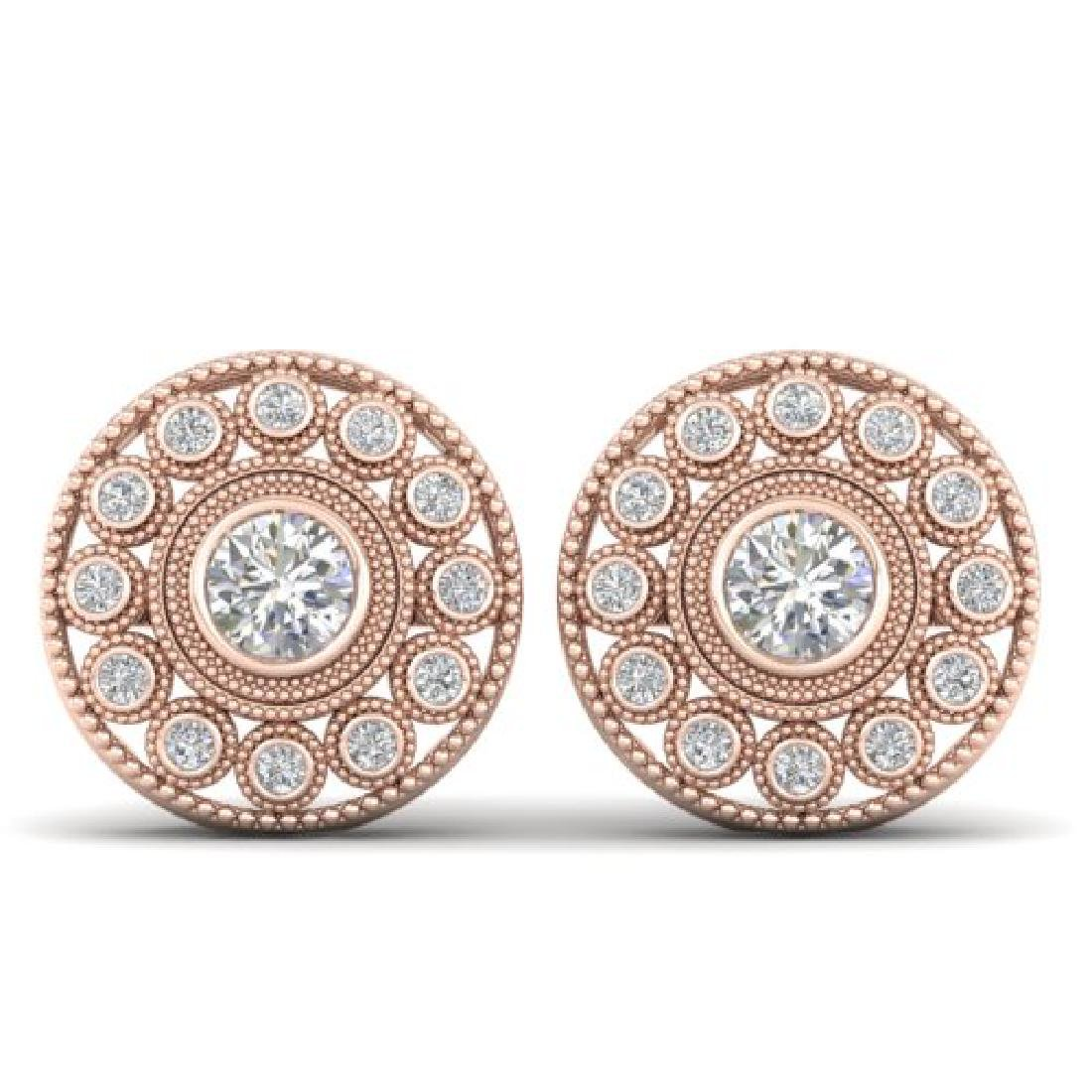 1.11 CTW Certified VS/SI Diamond Art Deco Stud Earrings