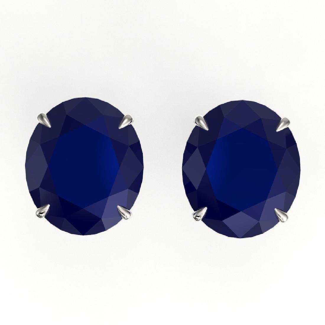 18 CTW Sapphire Designer Solitaire Stud Earrings 18K