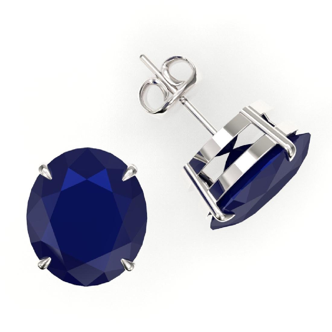 18 CTW Sapphire Designer Solitaire Stud Earrings 18K - 2