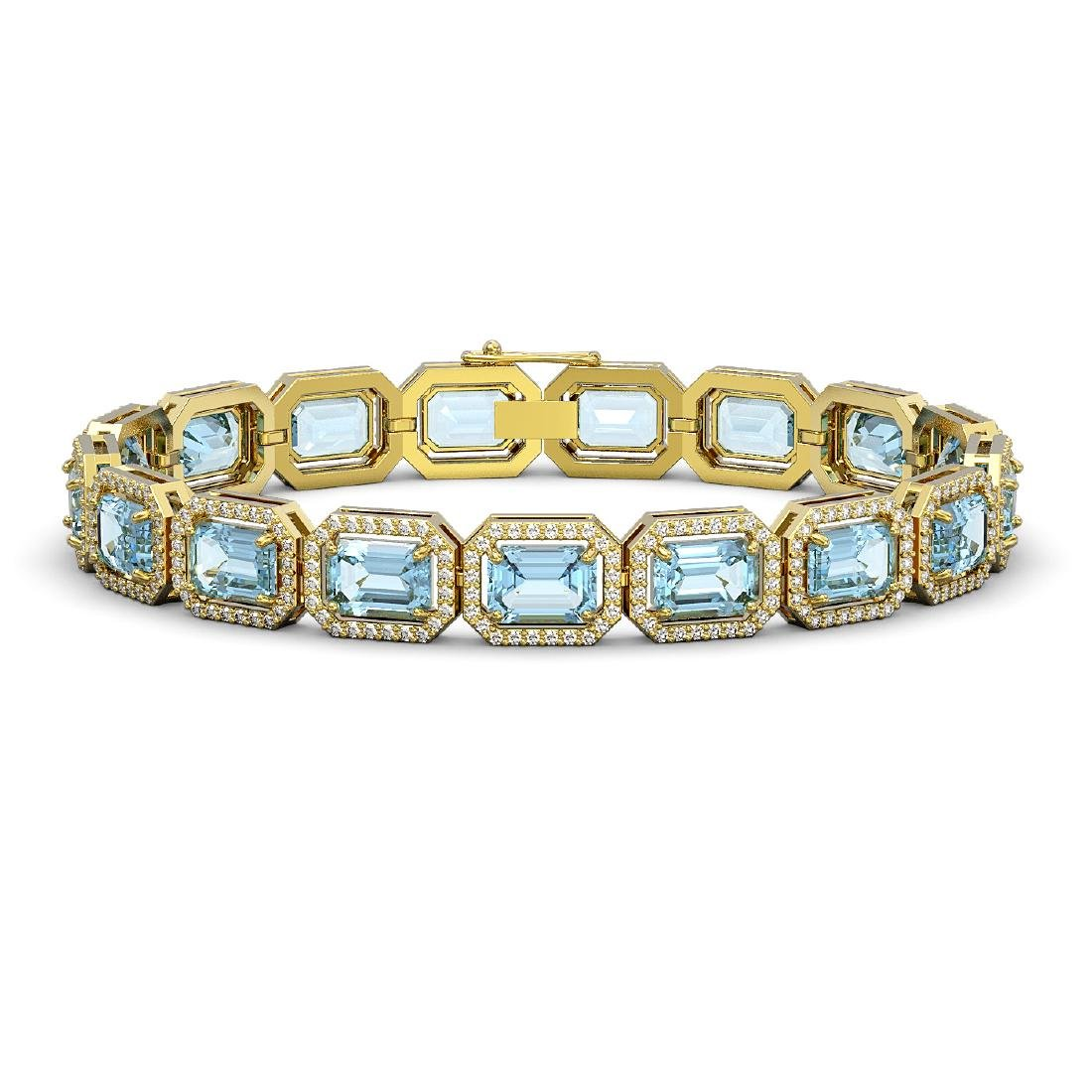 23.66 CTW Sky Topaz & Diamond Halo Bracelet 10K Yellow