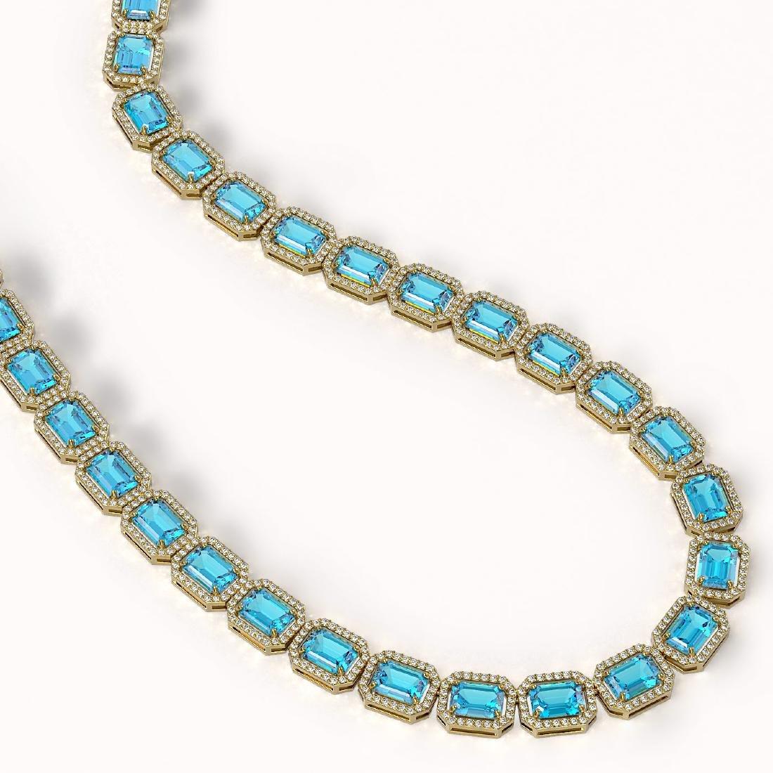 52.99 CTW Swiss Topaz & Diamond Halo Necklace 10K - 2