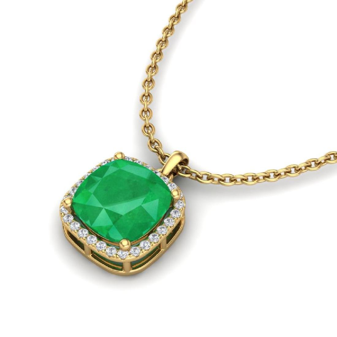 6 CTW Emerald & Micro Pave Halo VS/SI Diamond Necklace