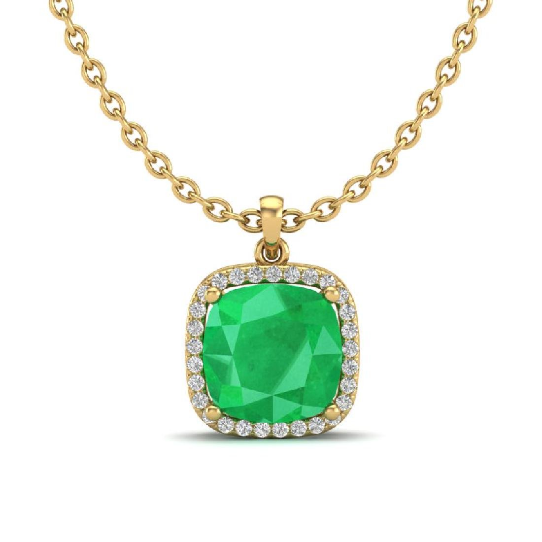 6 CTW Emerald & Micro Pave Halo VS/SI Diamond Necklace - 2