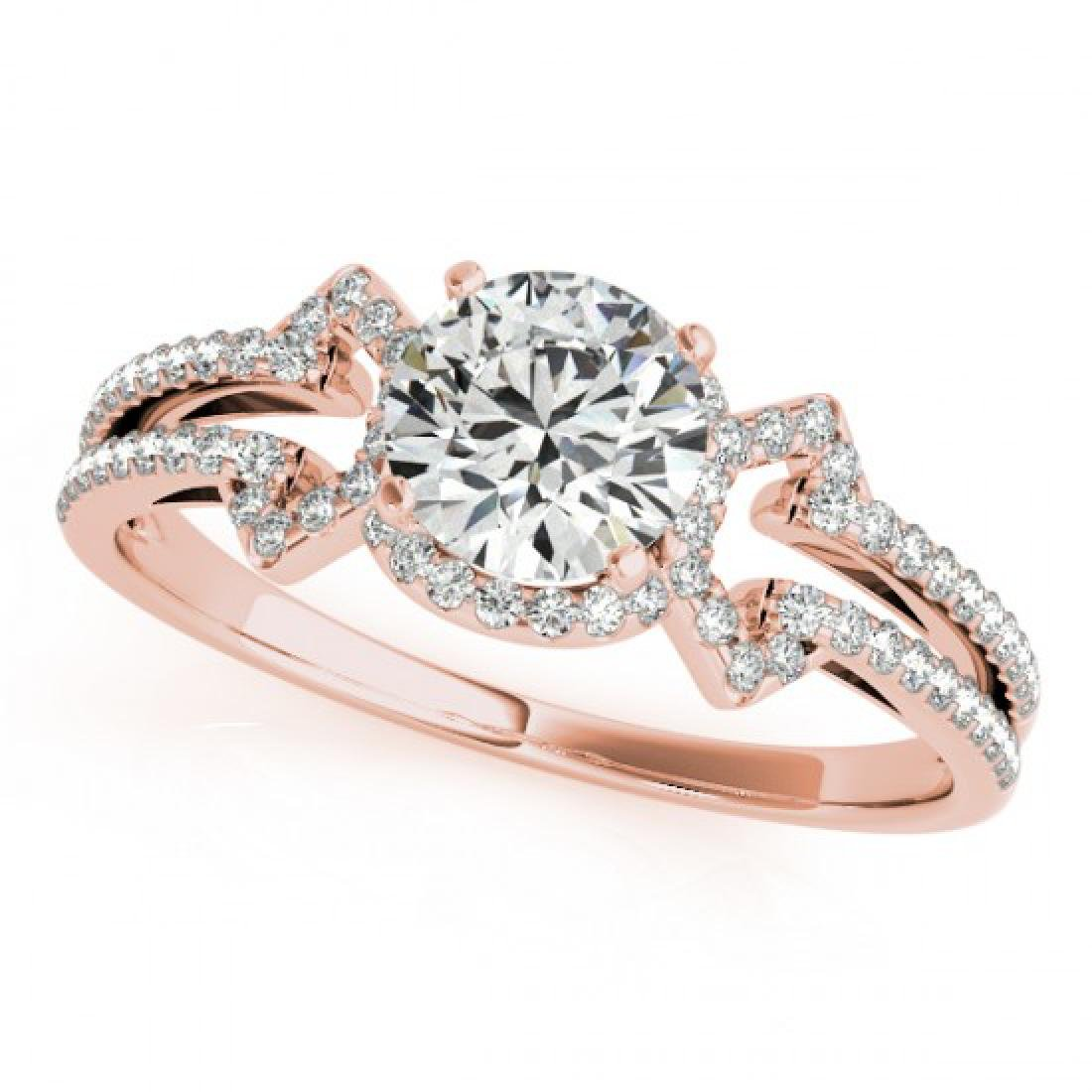 0.9 CTW Certified VS/SI Diamond Solitaire Ring 14K Rose