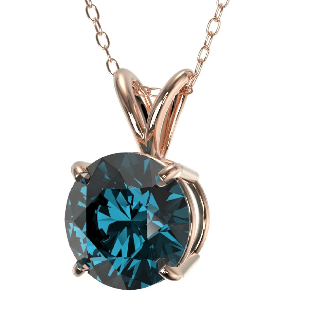 1.53 CTW Certified Intense Blue SI Diamond Solitaire - 2