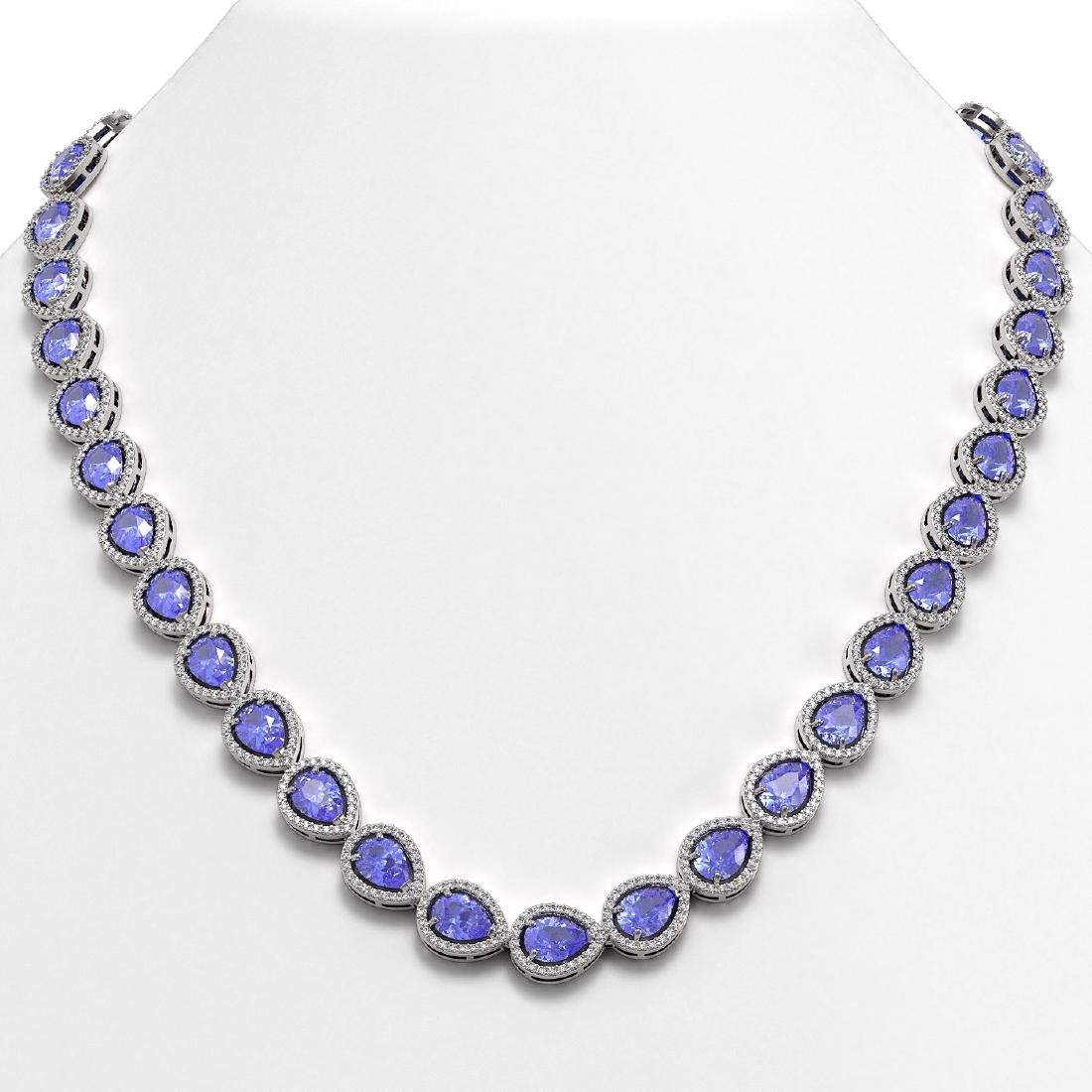 40.53 CTW Tanzanite & Diamond Halo Necklace 10K White