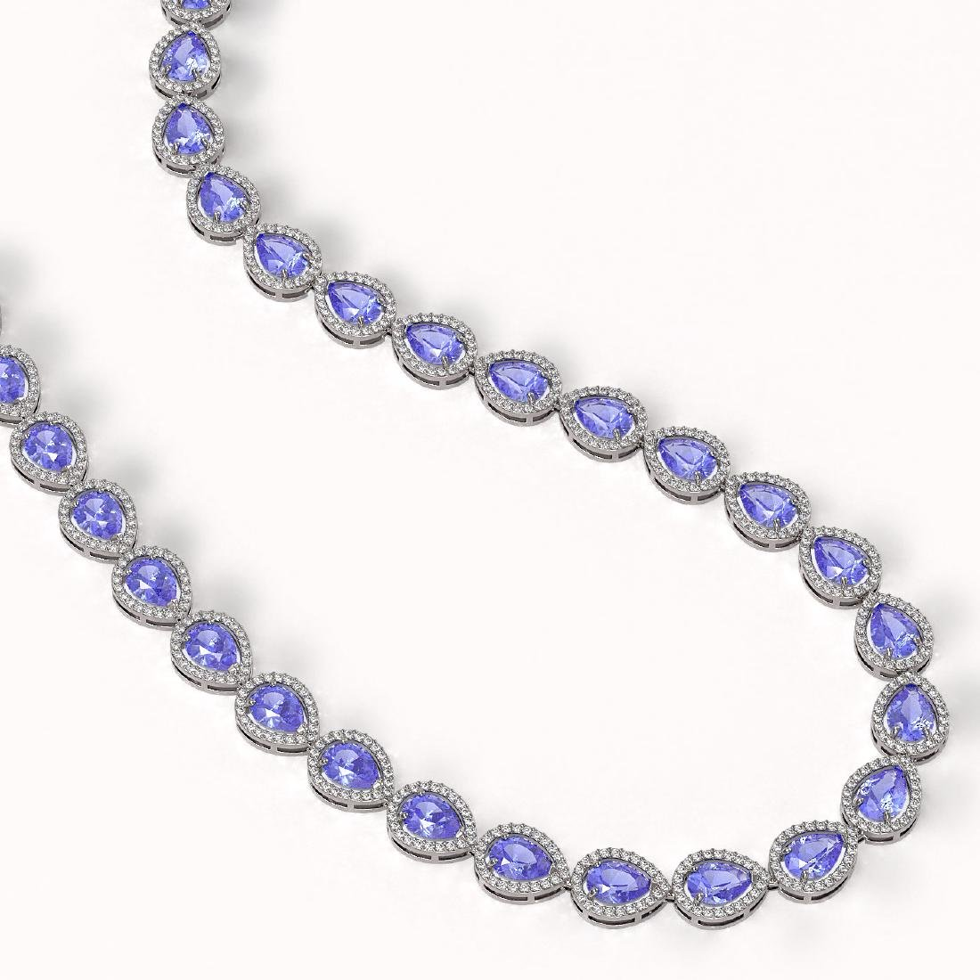 40.53 CTW Tanzanite & Diamond Halo Necklace 10K White - 2