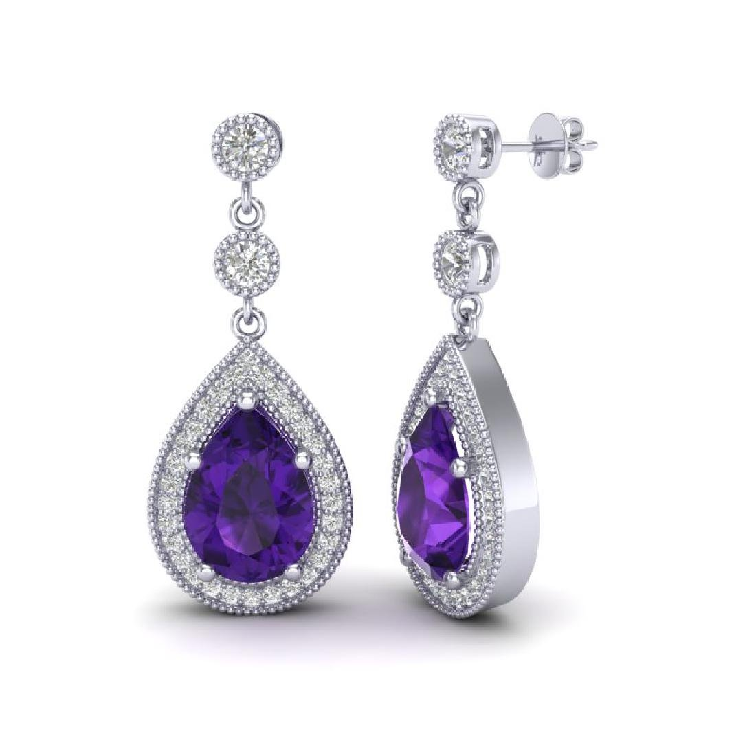 4.50 CTW Amethyst & Micro Pave VS/SI Diamond Earrings - 2