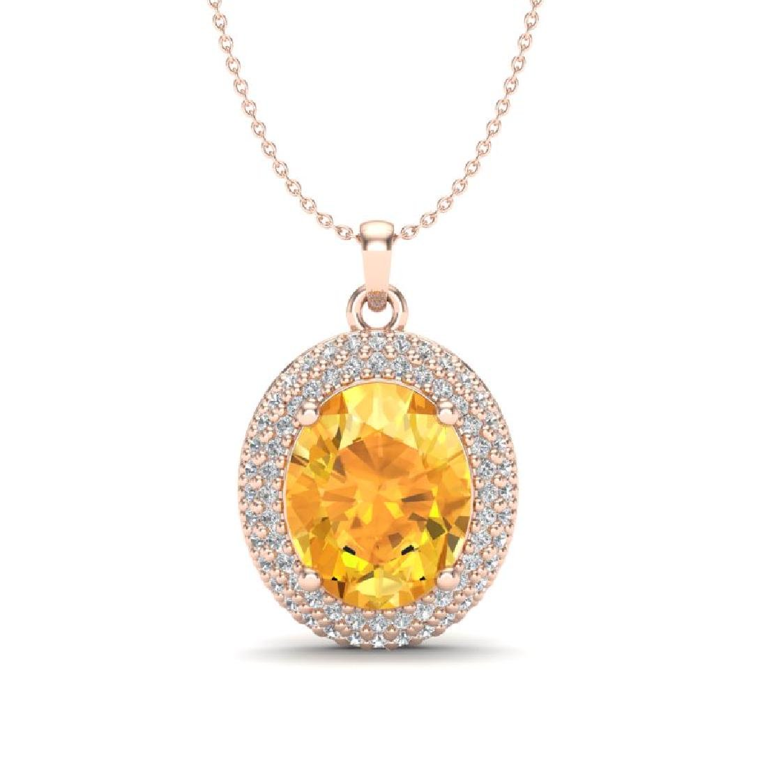 4 CTW Citrine & Micro Pave VS/SI Diamond Necklace 14K
