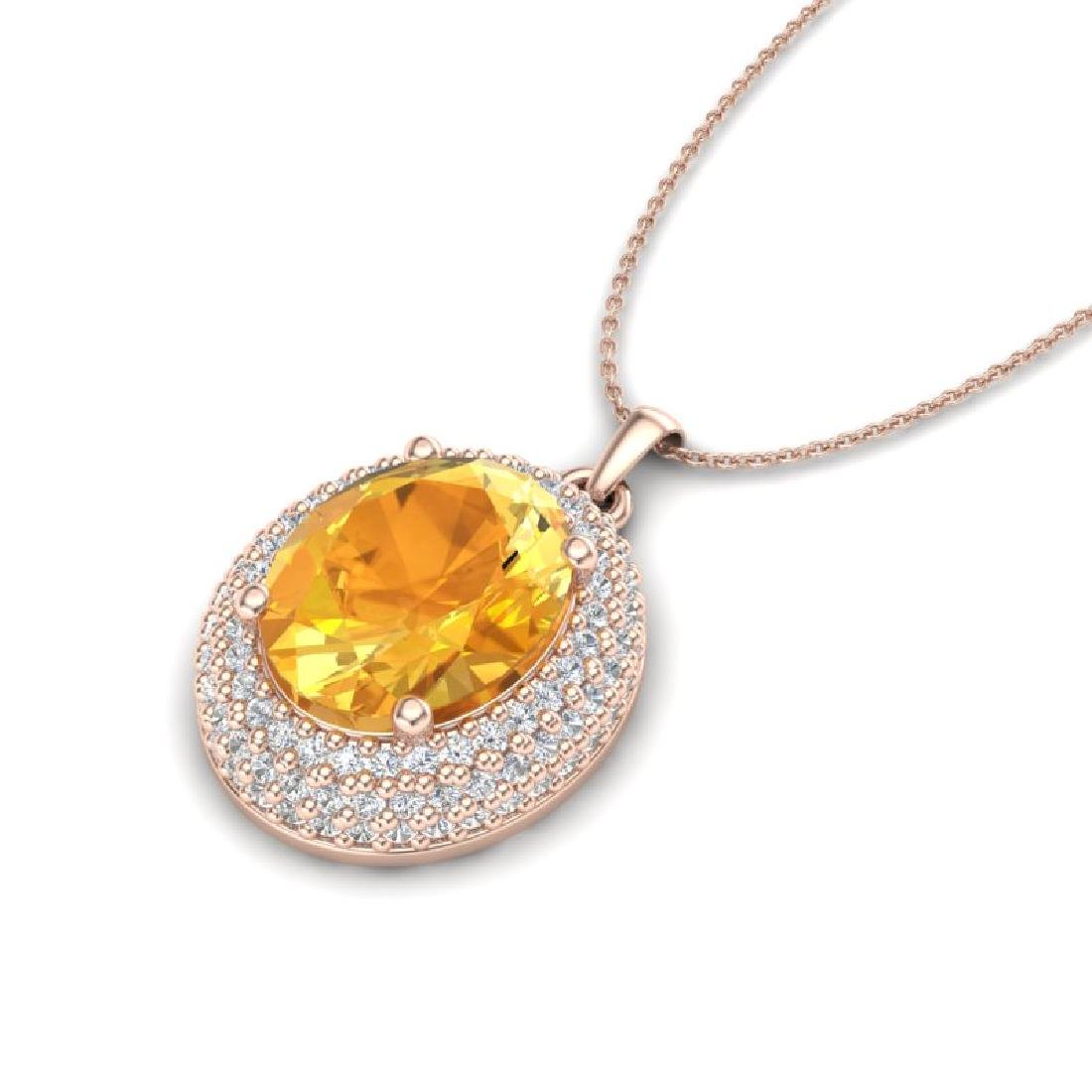 4 CTW Citrine & Micro Pave VS/SI Diamond Necklace 14K - 2