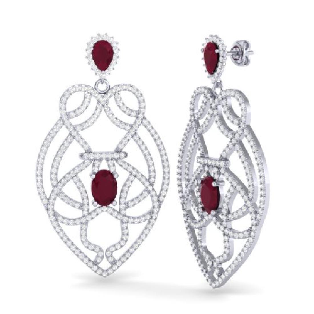 7 CTW Ruby & Micro VS/SI Diamond Heart Earrings - 2