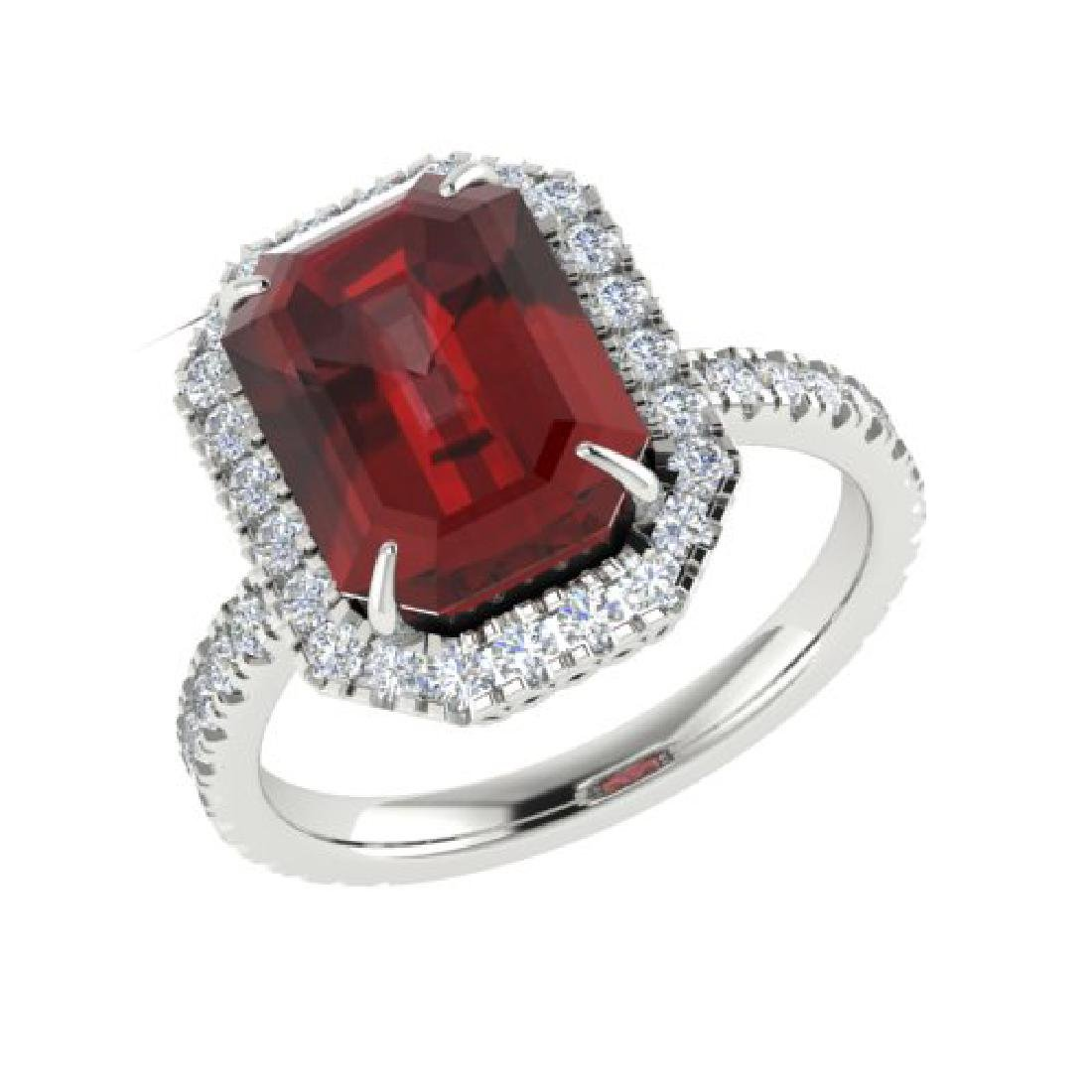 6.03 CTW Garnet And Micro Pave VS/SI Diamond Halo Ring - 2