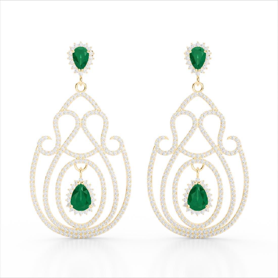 6.40 CTW Emerald & Micro Pave VS/SI Diamond Earrings - 2