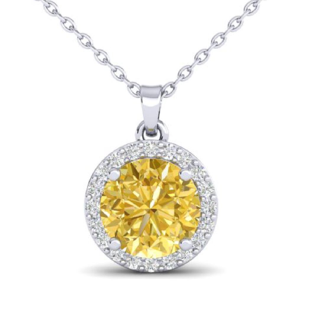 2 CTW Citrine & Halo VS/SI Diamond Micro Pave Necklace - 2
