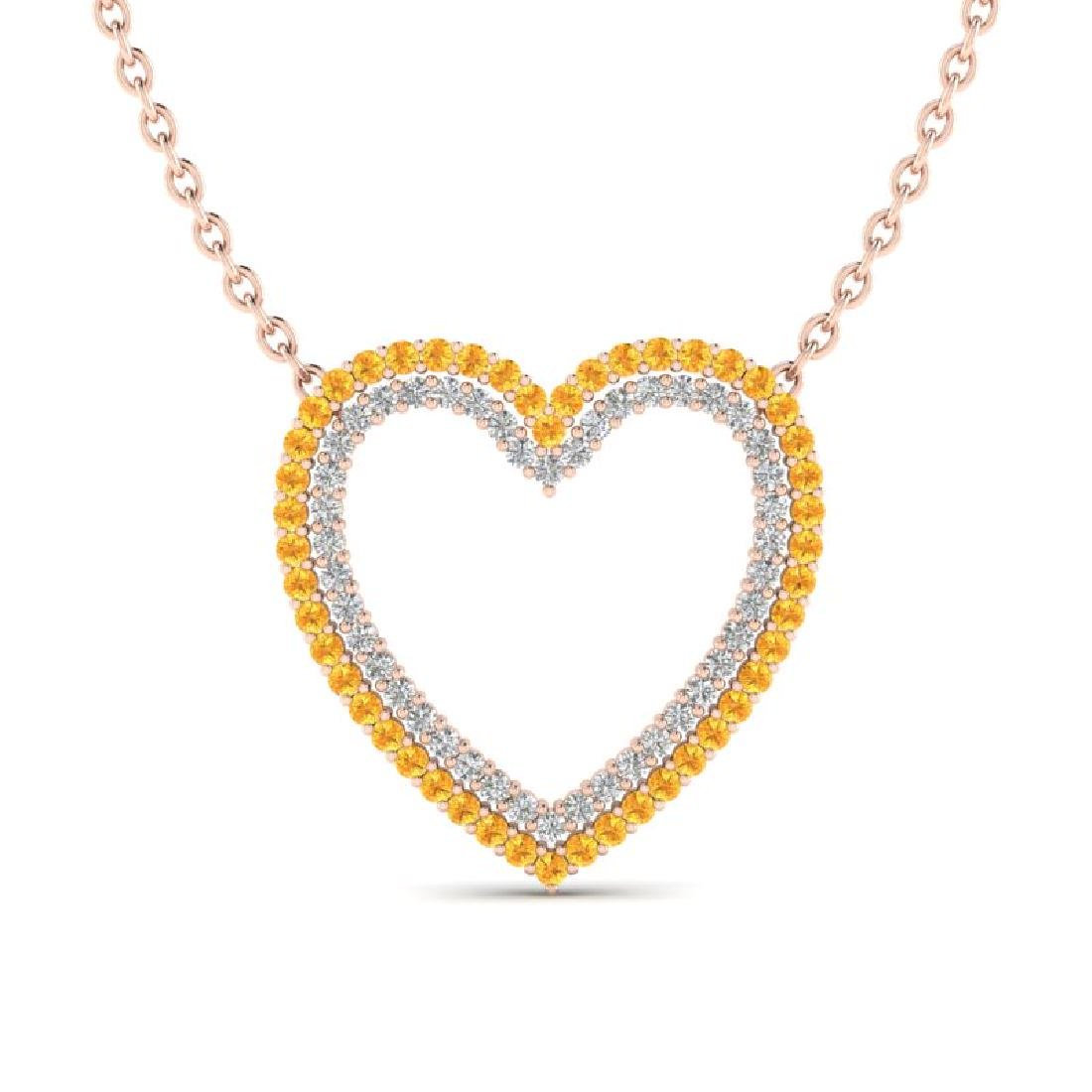 2.50 CTW Yellow Sapphire & VS/SI Diamond Heart Halo
