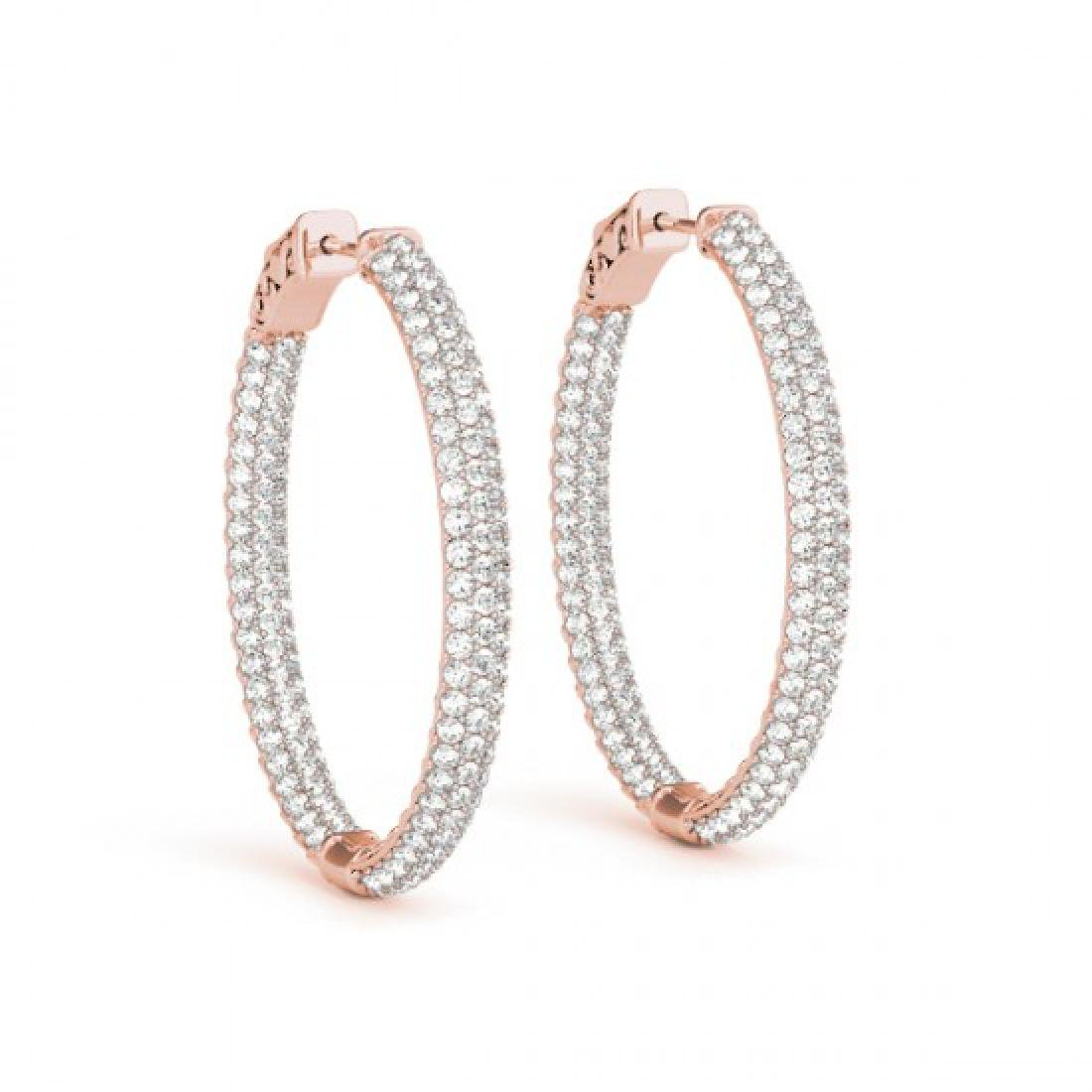 6.75 CTW Diamond VS/SI Certified 51 Mm Hoop Earrings - 2