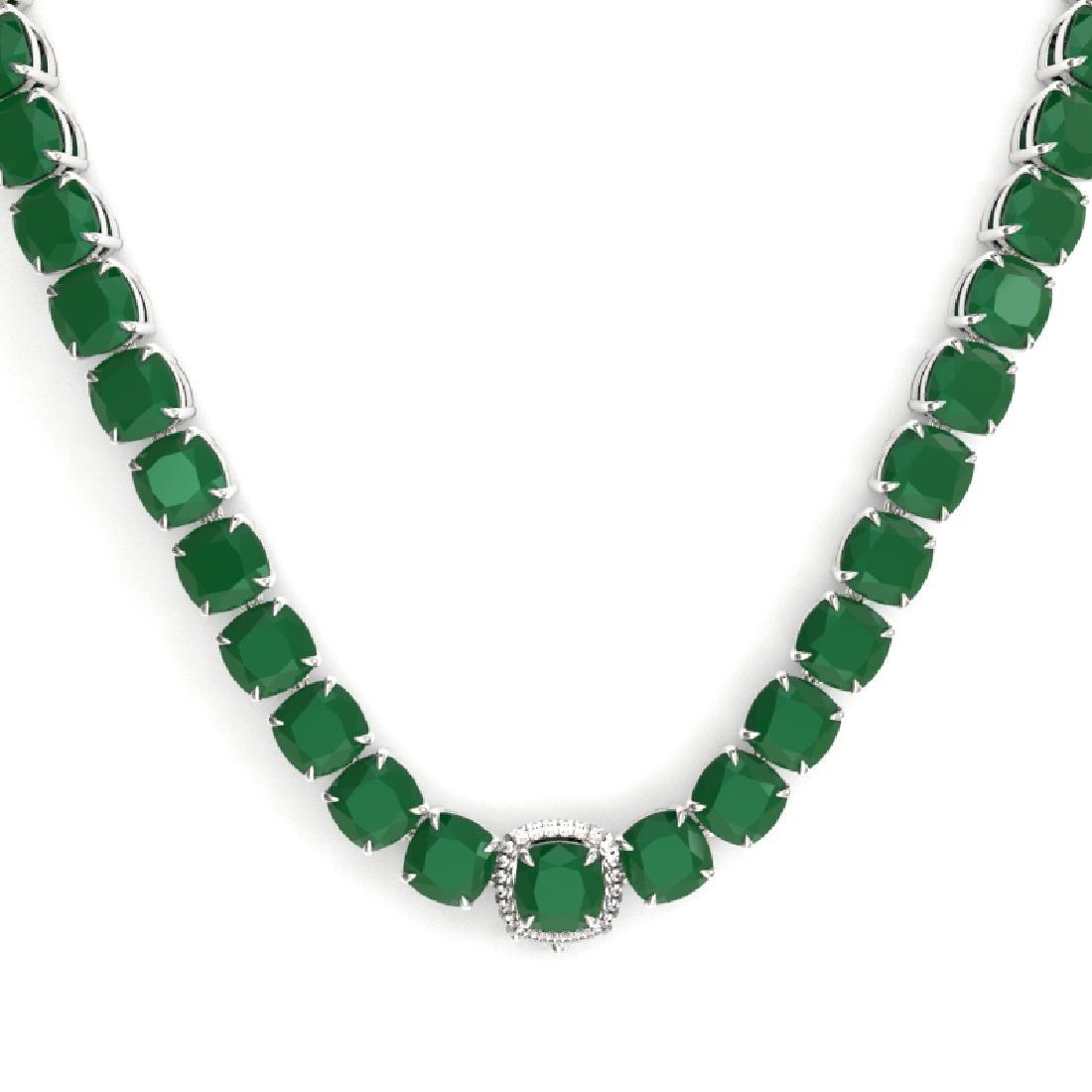 116 CTW Emerald & VS/SI Diamond Halo Micro Pave - 2