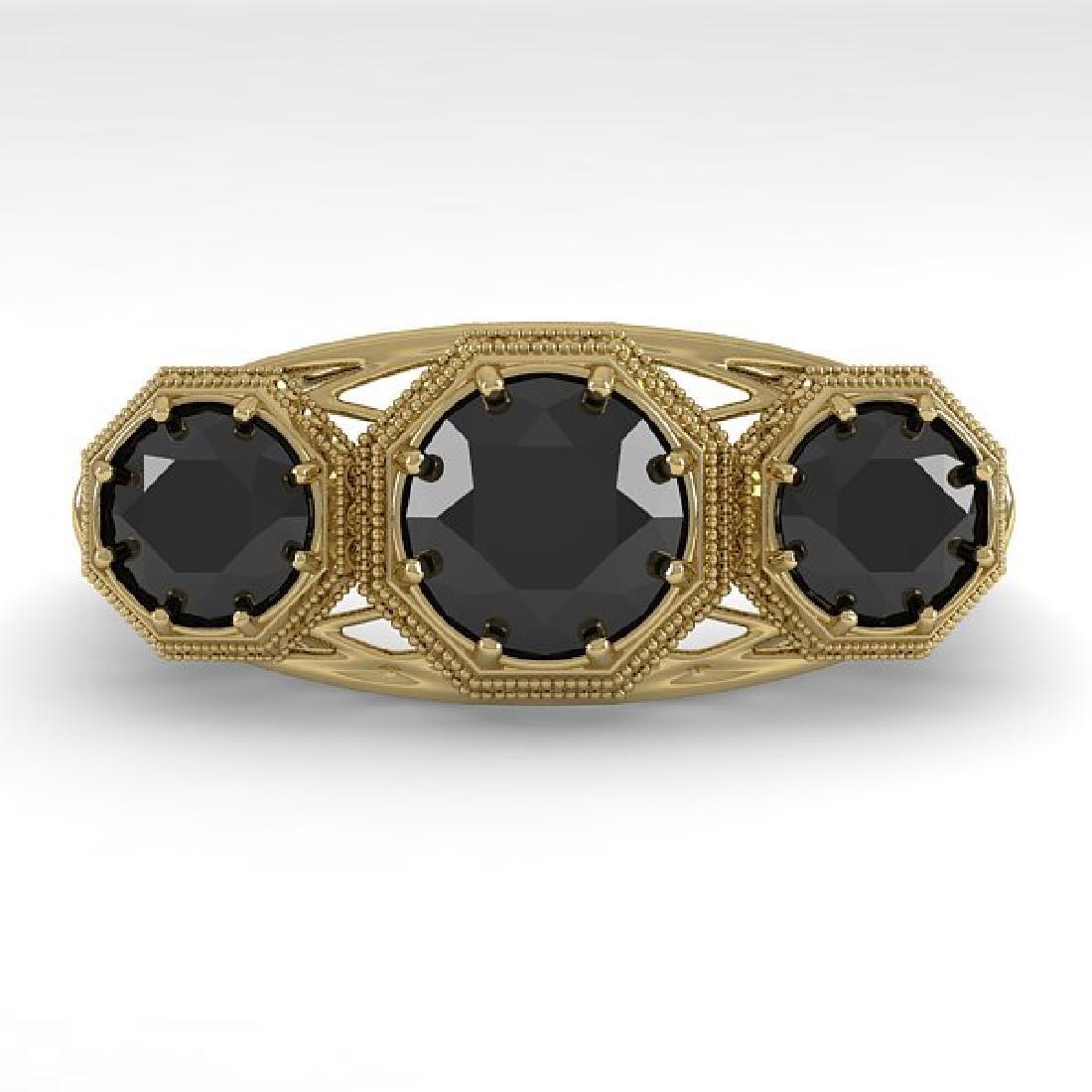 2 CTW Black Diamond Ring 14K Yellow Gold