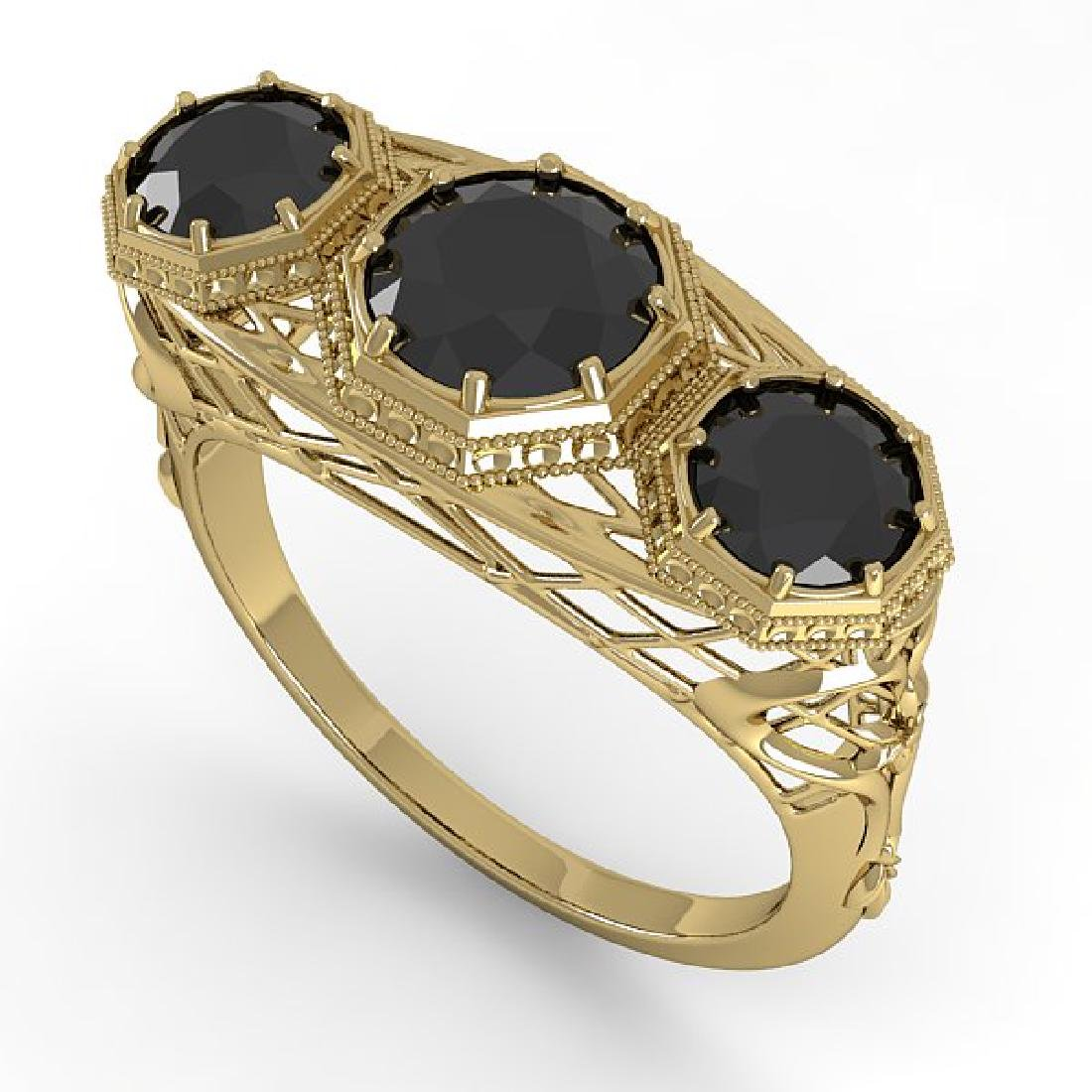 2 CTW Black Diamond Ring 14K Yellow Gold - 2