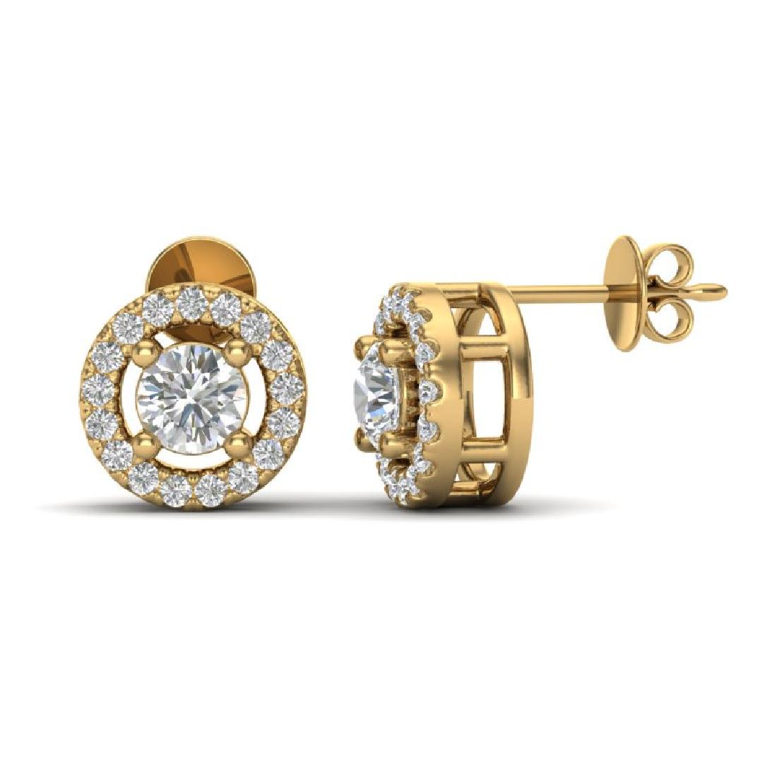 0.65 CTW Micro Pave VS/SI Diamond Earrings Solitaire - 2