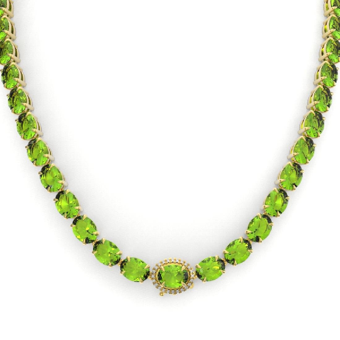 80 CTW Peridot & VS/SI Diamond Tennis Micro Pave Halo - 2