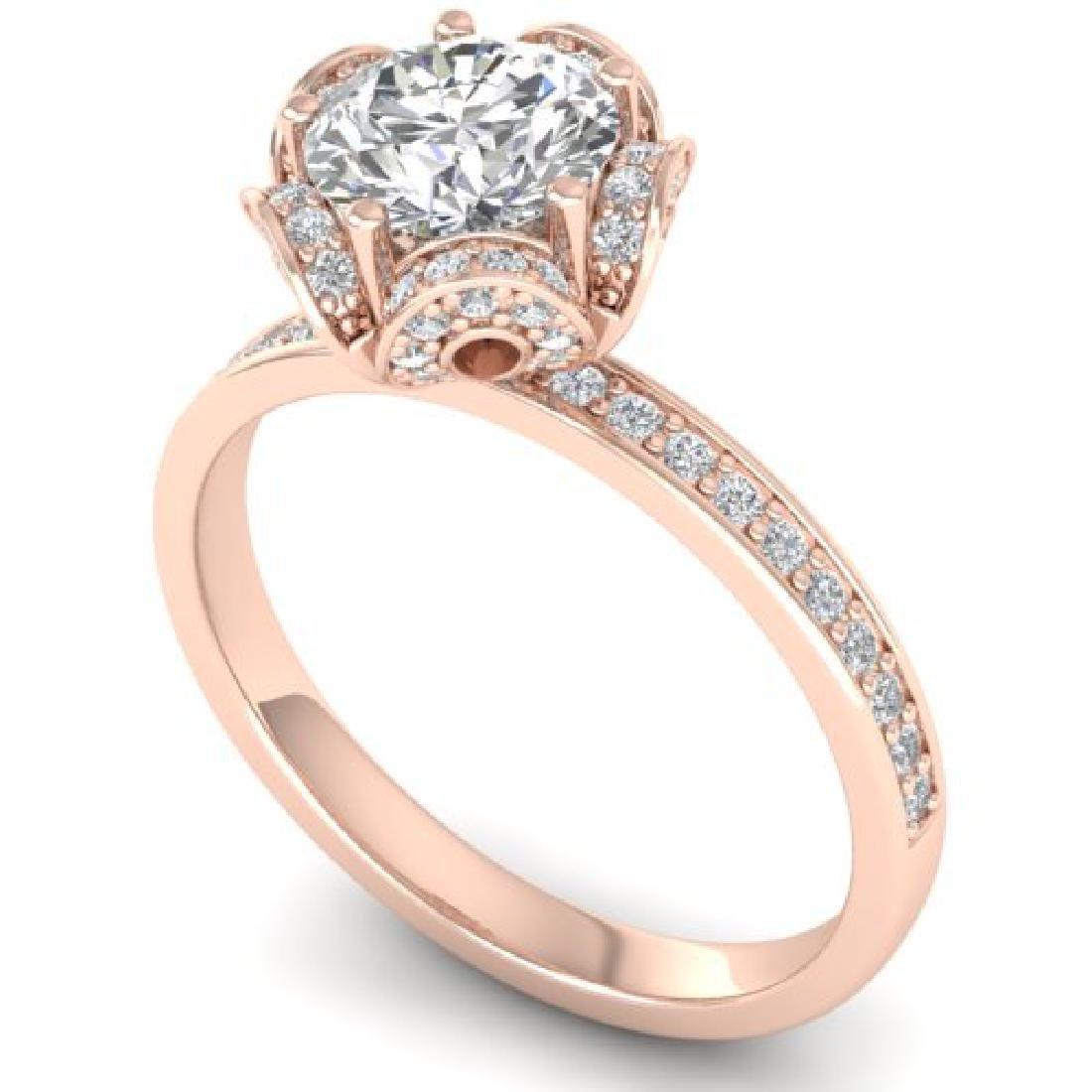 1.75 CTW Certified VS/SI Diamond Art Deco Ring 18K Rose - 2