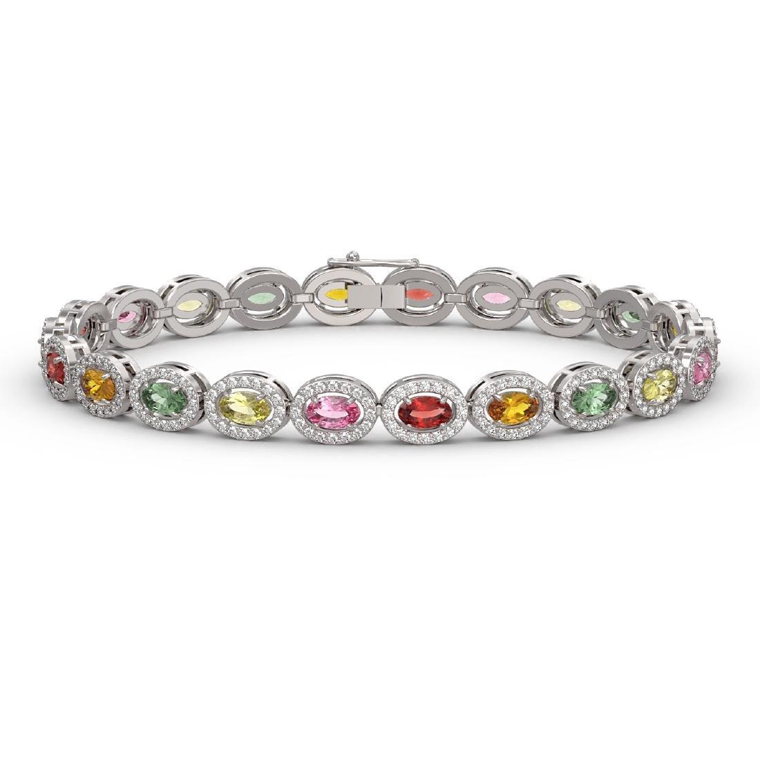 10.04 CTW Multi Color Sapphire & Diamond Halo Bracelet