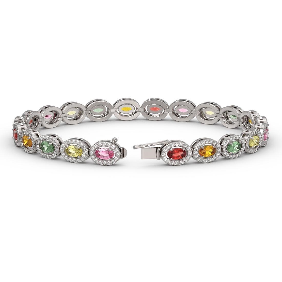 10.04 CTW Multi Color Sapphire & Diamond Halo Bracelet - 2