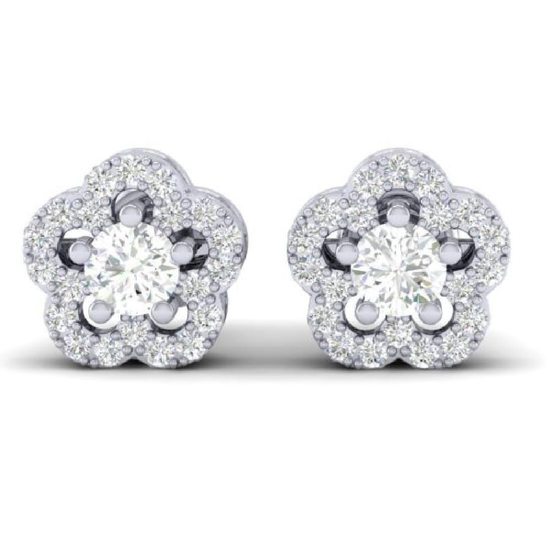 0.50 CTW Micro Pave VS/SI Diamond Earrings Moon Halo In