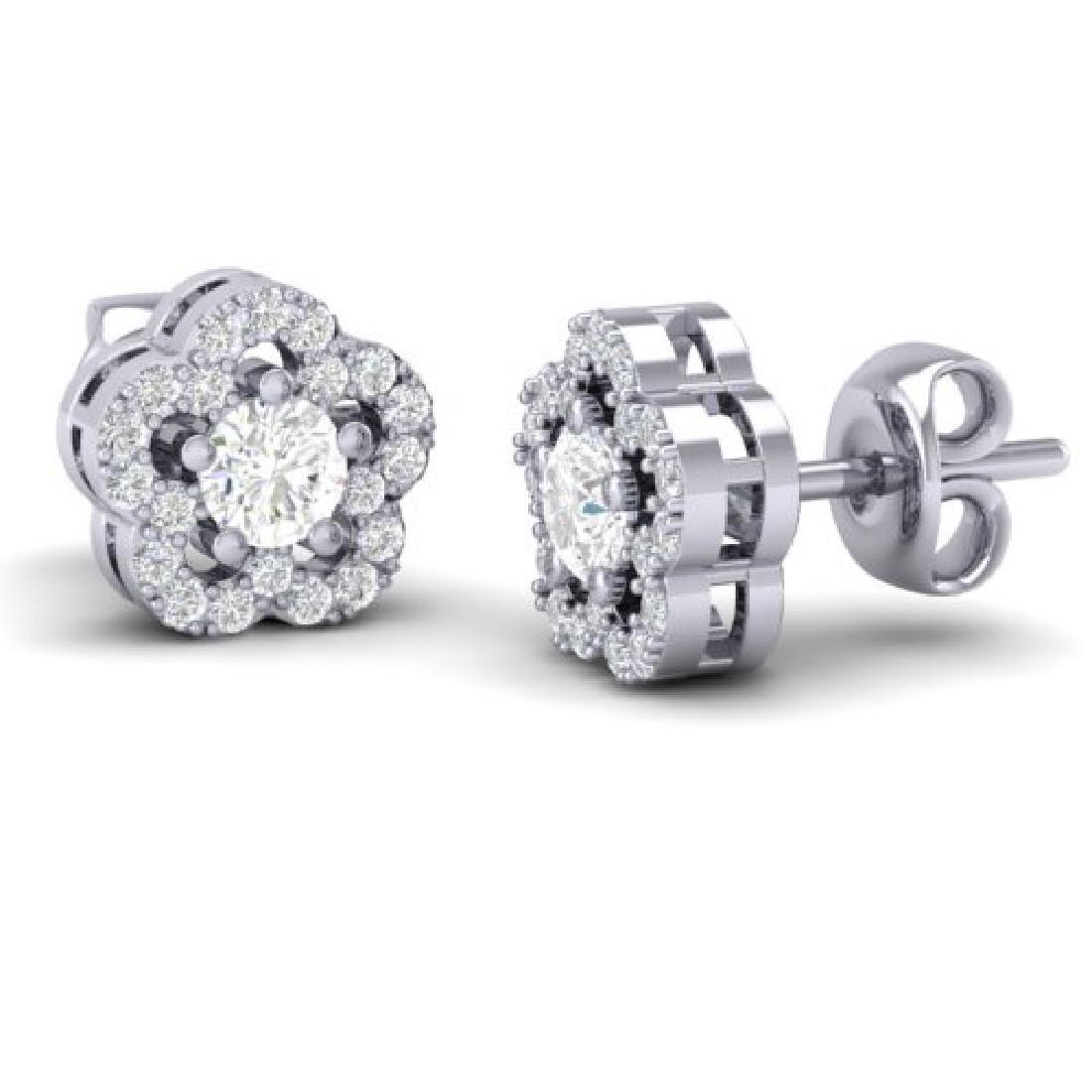 0.50 CTW Micro Pave VS/SI Diamond Earrings Moon Halo In - 2